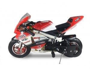 SYX MOTO Apex Pull Start 49cc 2-Stroke Gas Power Mini Pocket Bike Off Road, Red/White